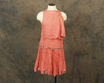 vintage 20s Flapper Dress - Pink Silk Chevron Studded Dress and Slip Set 1920s Silk Dress Sz XS
