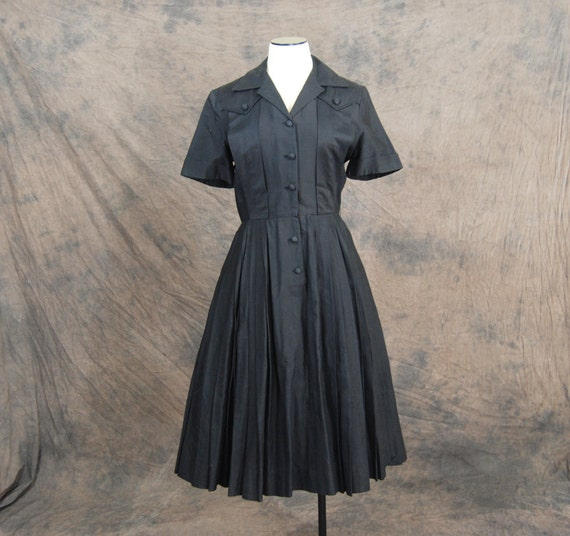 vintage 50s Dress - Black Cotton Classic Shirt Dress Sz M