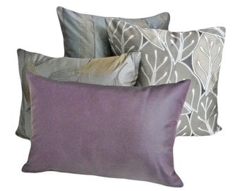 Solid Purple Throw Pillow, Contemporary, Luxury Lumbar Pillow, Accent Cushion Cover, Solid Purple, Oblong 12x18