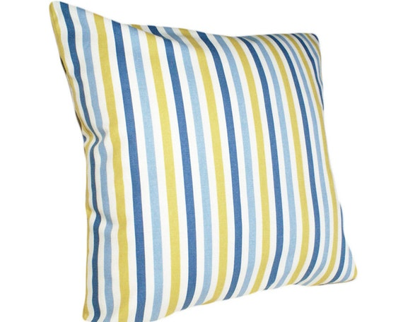 SALE Blue and Yellow Pillow, Striped Decorative Throw Pillows, Accent, Couch Pillow, Cushion Cover, Country Cottage  Home Decor 18x18