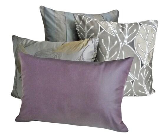Solid Purple Throw Pillow Contemporary Luxury Lumbar Pillow