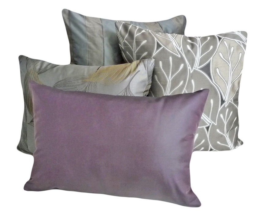Solid Purple Throw Pillow Contemporary Luxury Lumbar Pillow