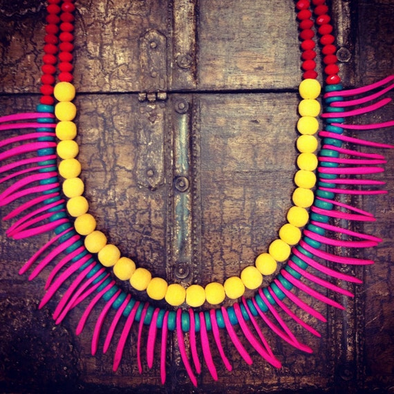 Statement Tribal Necklace in Neon Pink and Yellow  - The Neon Queen