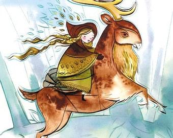 gerda rides, snow queen fairytale  -8.5x11 print
