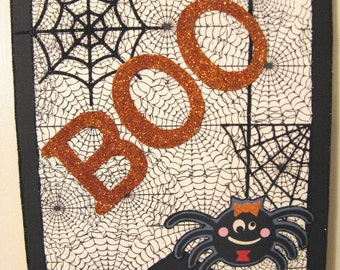 Wall Sign, HALLOWEEN Glittered Door/Wall  Hanger with BOO and a Spider by stacy Marie