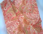 Stock Tie, Straight Stock, Peach Paisley, Cotton Fabric.