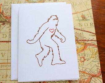 Even Sasquatch Loves - Stitched Card