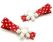 Snowflake Hair Clips, One Pair, Winter White Snowflakes, Red Polka Dot Ribbon, Snowflake Clippies