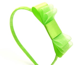 Apple Green Bow Headband, Apple Green Headband for Girls, Green Satin Bow, Triple Bow Headband, Sheer Bow, Spring Headband, Baby Toddler