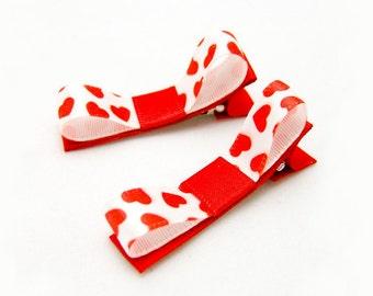 Tiny Red Heart Hair Clips, Satin Tuxedo Bows, Red Heart Clips, Mini Hearts Hair Bows, Baby Toddler Girls,