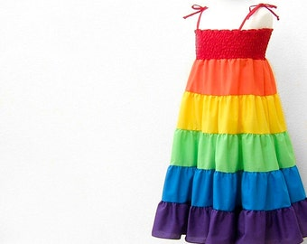 Rainbow Dress, Rainbow Twirl Dress, Rainbow Sundress, Children Clothing, Baby, Toddler, Girls, 12 to 18 months, 1T, 2T, 3T, 4t, 5, 6