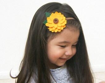 Sunflower Headband, Ready to Ship Felt Sunflower Headband, Girls Headband Boho Woodland Golden Yellow Brown Baby Girl Headband Toddler Girls