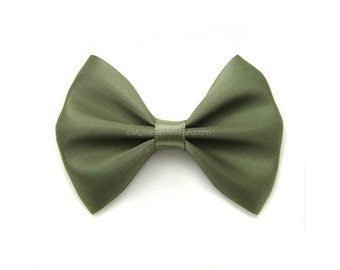 Willow Green Satin Hair Bow, 3 Inch Bow, Classic Hair Bow, Olive Green, Army Green Hair Bow No Slip Infant Hair Bow