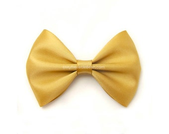Honey Gold Hair Bow, 3 Inch Bow Pale Mustard Satin Hairbow Toddler Hairbows for Girls Babies Women