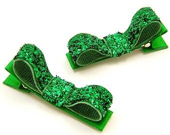 Emerald Green Glitter Hair Clips, Emerald Green Glitter Hair Bows, One Pair Glitter Tuxedo Clips Baby Toddler Girls Women Holiday Hair Clips