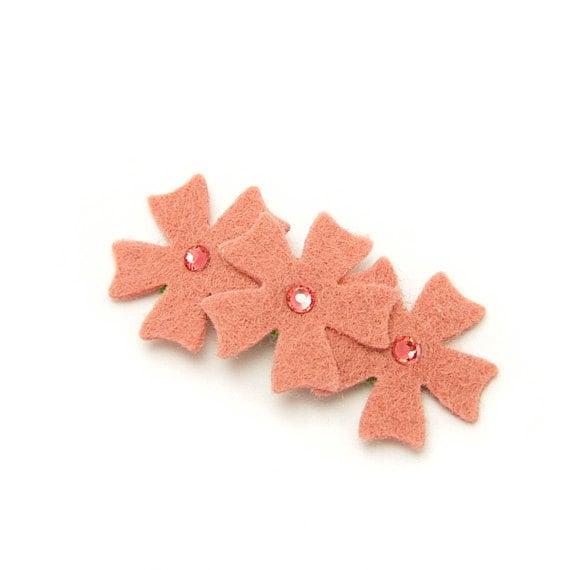 Felt Flower Barrette Embellished with Swarovski Crystals, Felt Flower Hair Clip, Coral Peach, Baby, Toddler, Girl, Pick Color, Rhinestones