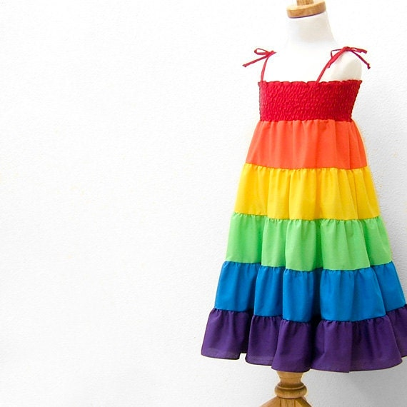rainbow dress rainbow twirl dress rainbow sundress children
