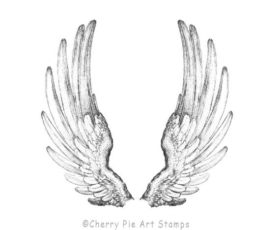 Angel Wings - set of 2  CLING rubber STAMPS for acrylic block by Cherry Pie Art Stamps