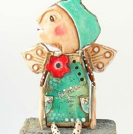 Angel Art Doll- Folk Art - Mixed Media - Hand Painted Paper Clay - by WeeMeeWhimsies