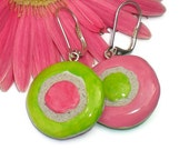 Pink and Green Clay Dangle Earrings Mosaic Tile REVERSIBLE