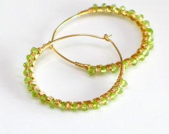 August Peridot Earrings Deluxe, Big Gold Hoop & Green Gem Earrings, Hand Forged GF Hoops, Gift for Her, August Birthstone