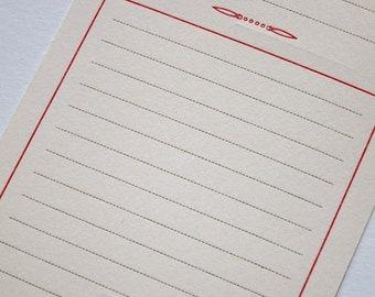 Red Note letterpress printed postcard