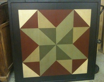 PriMiTiVe Hand-Painted Barn Quilt, Small Frame 2' x 2' - Double Pinwheel Pattern