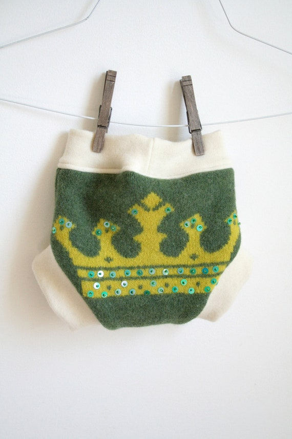 royalty - medium wool soaker - new and upcycled wool - green and yellow - two full layers - organic