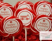 RED FIRETRUCK Printable Cupcake Toppers - Boy or Girl