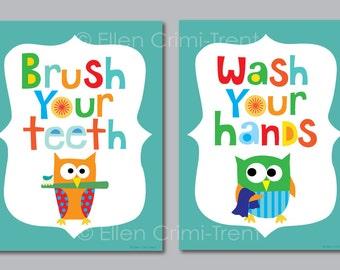 Kids Bathroom Decor/kids Bathroom Art/ Bathroom Manners/ Owl Bathroom Decor /Kids
