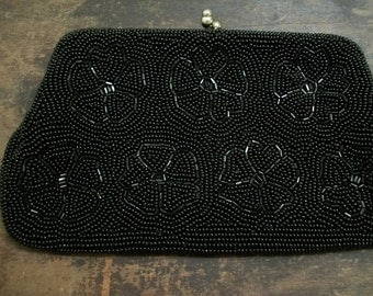 SALE  Black Beaded Evening Bag