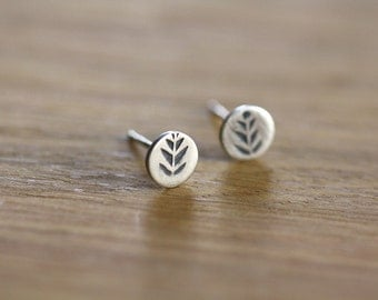 Tiny studs - posts - earrings - sterling silver - leaf - stamped
