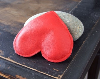 Red heart- vintage leather heart - Mother's Day gift -Valentine heart - paper weight heart - gift of love - gift under 15 dollars