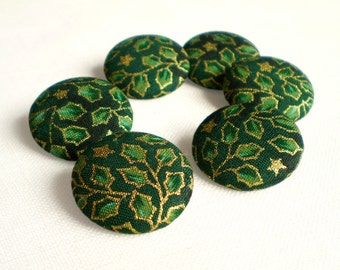 Fabric Buttons - Christmas Green - 6 Small or 6 Medium Sized, Gold Leaves and Stars on Emerald Green Fabric Covered Buttons, Clothing Sewing