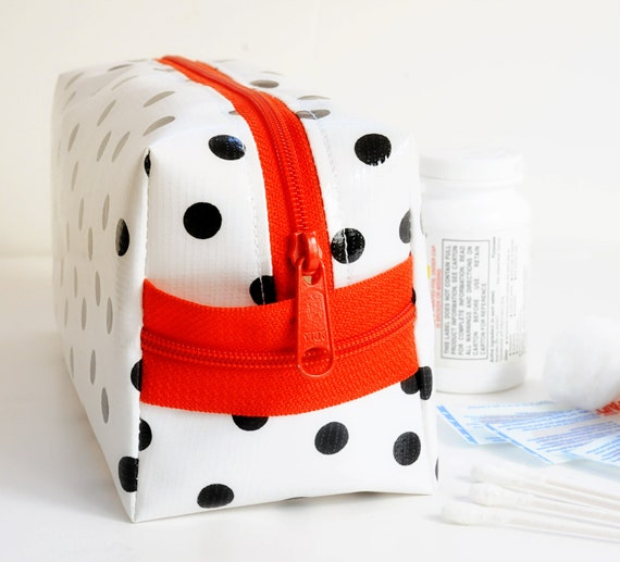 Oilcloth Make Up Bag Cosmetic Case Polka Dot Small