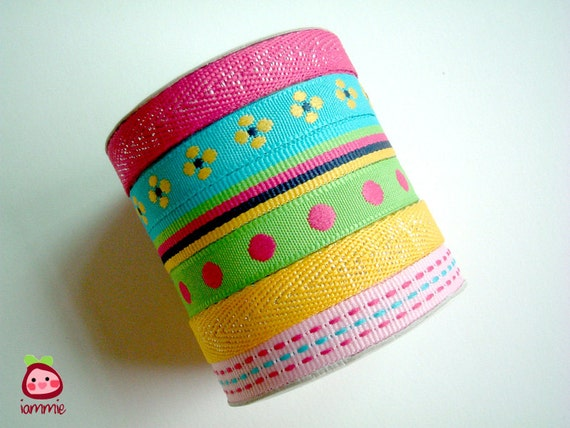 Rainbow Trim, fabric, ribbon, lace, pink, blue, green, yellow, flower, poka dot, stripe, crafting, bow, yard, colorful, iammie, scrapbook