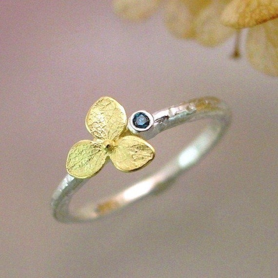 Blue Diamond Engagement Ring, Botanical Gemstone Stacking Ring, Hydrangea Blossom Sterling Silver, 18k Gold Flower Made to Order