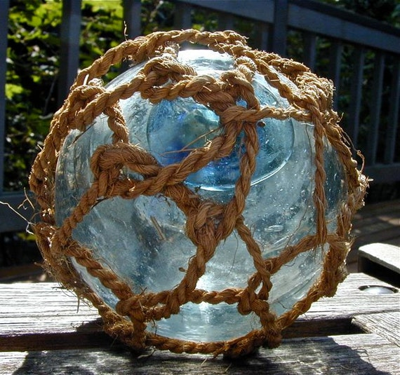 Glass Fishing Float, Heaven 'n Sea SISAL NET, Antique, Home Decor, Nautical, Beach Cottage Decor, Fishing Decor, Ocean, Garden Decor