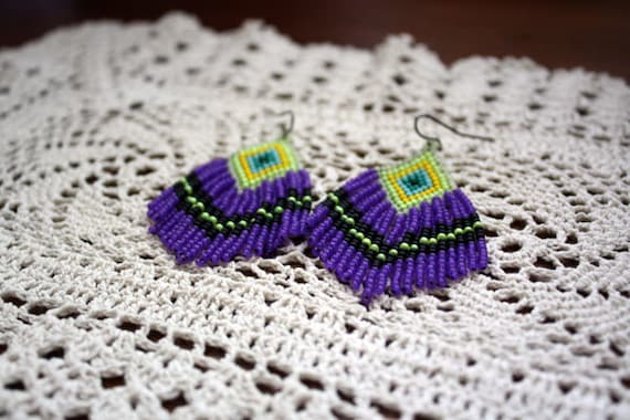 native style fringe earrings glowing neon purple and yellow dusters
