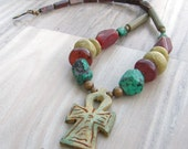Ankh Gemstone Necklace - Earthy Egyptian Necklace with Pendant, Eternal Life, Olive Green, Rusty Red, Turquoise