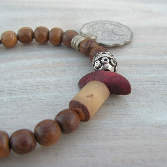 Gypsy Mala Bracelet, Light Brown, Wood Mala, Coin Charm Bracelet