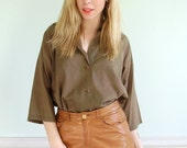 Mud Puppy Vintage 50s 60s LS Olive Green Brown Sage Button Down Blouse Shirt LARGE L