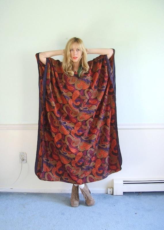 Paisley Spice Vintage Oversized Printed Bohemian Kaftan Maxi Tunic Dress OSFM