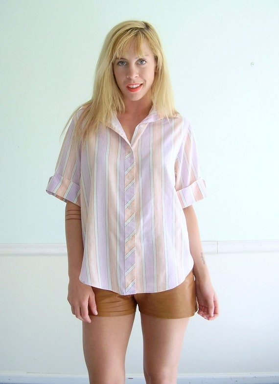 Beach Stripe Pastel Shirt Vintage 80s Woven Button Down Summer Top M L