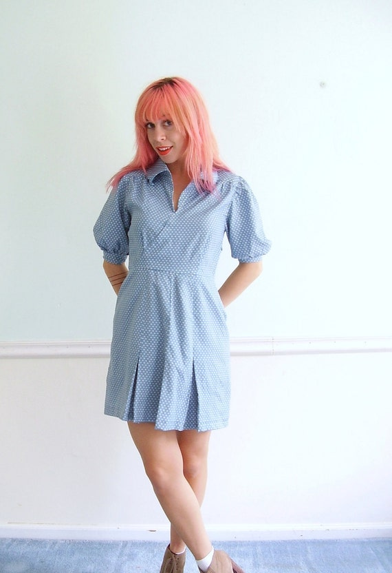 Polka Dot Baby Blue Mini Dress - Vintage 50s - Puff Sleeve - Shirtdress - SMALL S