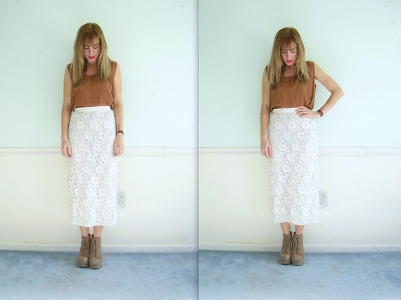 White Lace High Waist Maxi Pencil Skirt - Vintage 80s - Bodycon - XS
