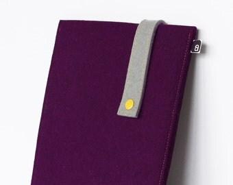 70% OFF CLEARANCE SALE: iPad case - Aubergine and grey wool felt with yellow snap - for iPad 1 / iPad 2 / iPad 3