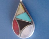 Native American Zuni Signed ED B Sterling Silver Inlaid Turquoise-Coral-Onyx-Mother of Pearl Pendant