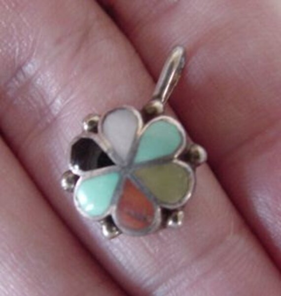 Native American Sterling Silver Inlaid Turquoise-Coral-Onyx-Mother of Pearl Flower Pendant