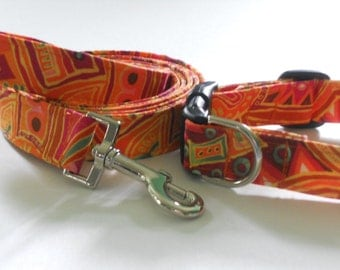 Collar and Leash Set - Bright Southwestern Colors and Pattern
